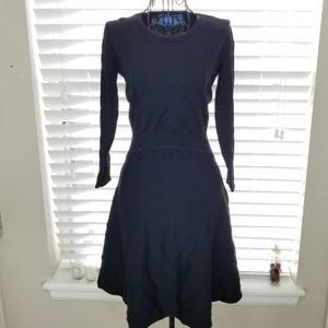 Vera Wang Long Sleeved Midi Little Black Dress